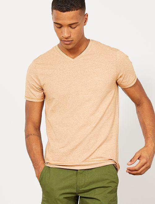 Camiseta slim de algodón orgánico                                                                 AMARILLO Hombre