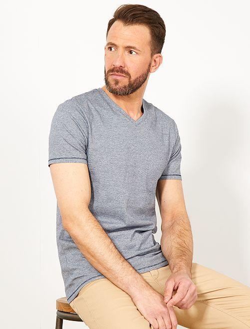 Camiseta slim de algodón orgánico                                         AZUL Hombre