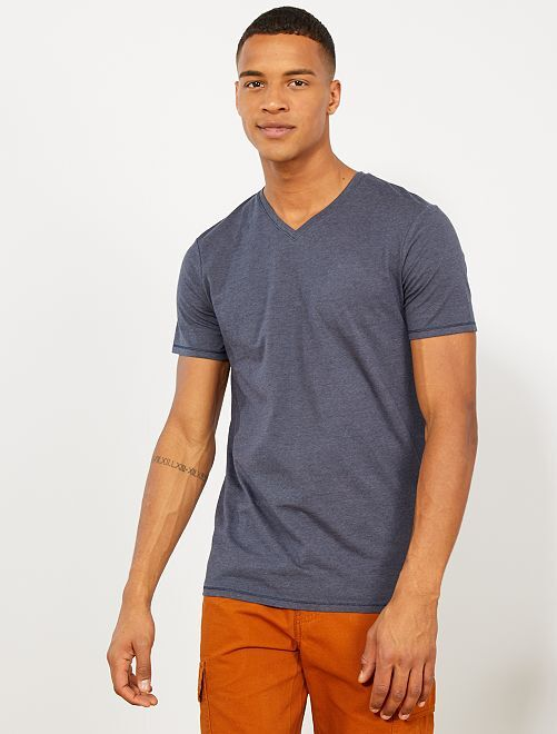 Camiseta slim de algodón orgánico                                 GRIS Hombre