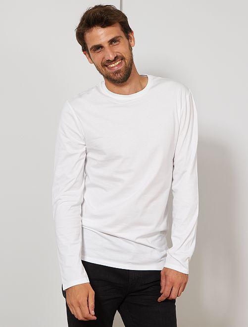 Camiseta slim de algodón puro +1,90 m                             blanco
