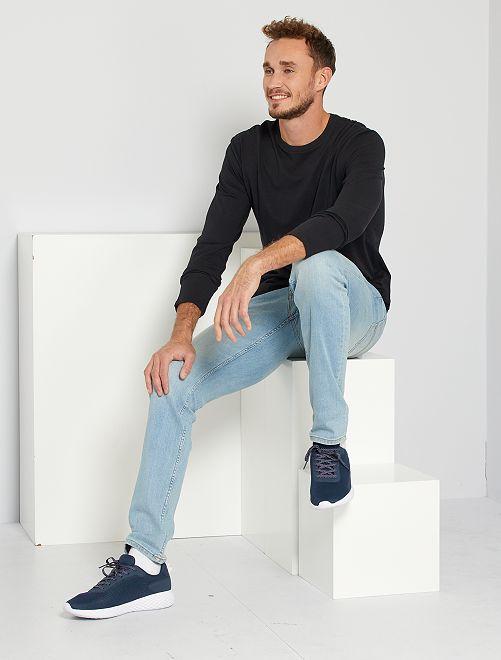 Camiseta slim de algodón puro +1,90 m                             negro Hombre de más de 1'90m