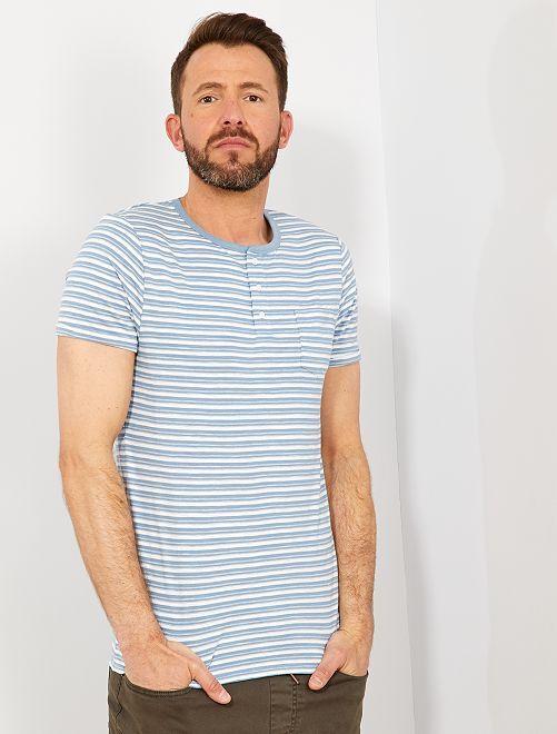 32b1aec145f Camiseta slim de rayas con cuello panadero Hombre - Kiabi - 8