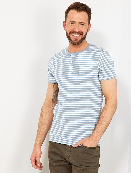 2df82f8090b Camiseta slim de rayas con cuello panadero Hombre - AZUL - Kiabi - 8