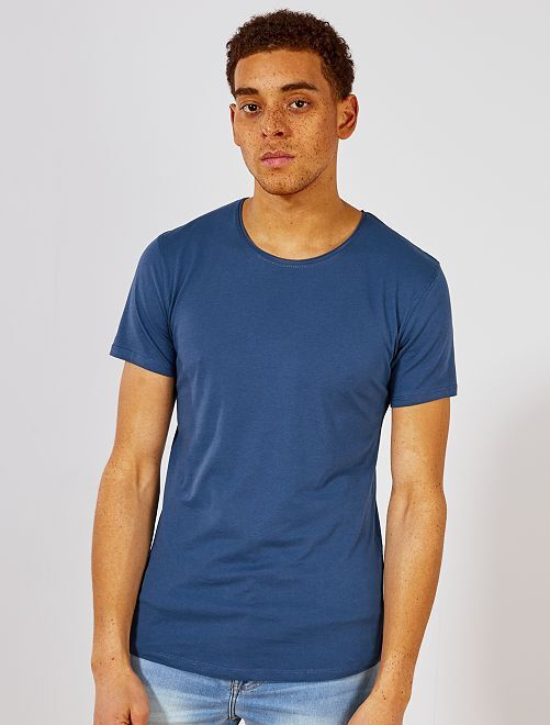 Camiseta slim fit de algodón lisa                                                                                         azul petróleo Hombre