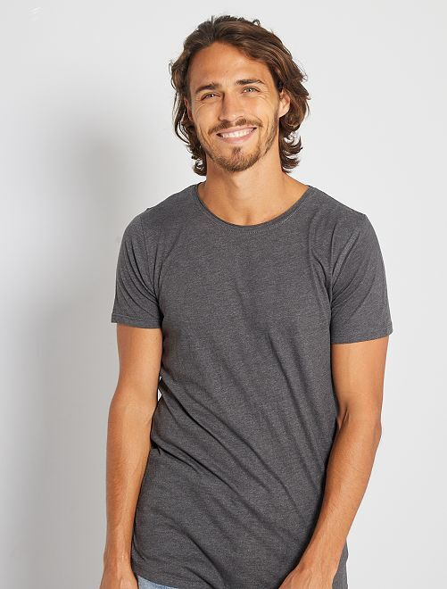 Camiseta slim fit de algodón lisa                                                                                 GRIS