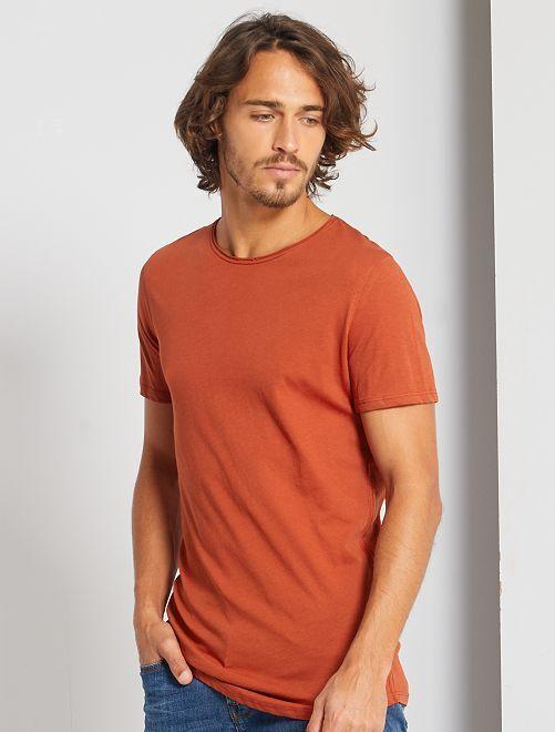 Camiseta slim fit de algodón lisa                                                                                                                             naranja ketchup