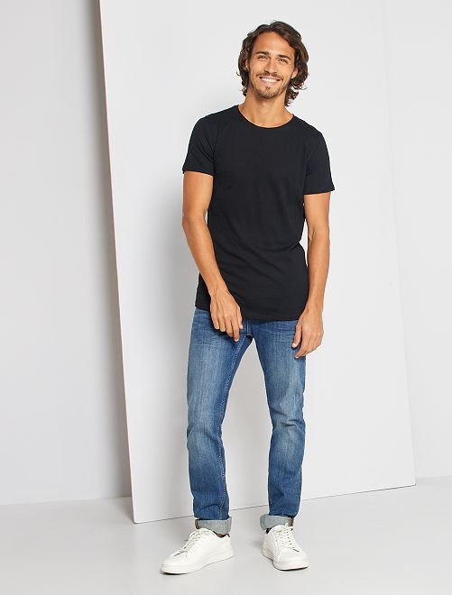 Camiseta slim fit de algodón lisa                                                                                                                 negro Hombre