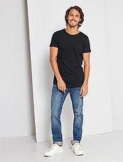 Camiseta slim fit de algodón lisa