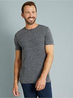 Camisetas básicas - Camiseta slim fit de punto jaspeado
