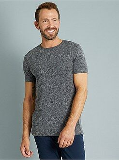 Hombre Camiseta slim fit de punto jaspeado
