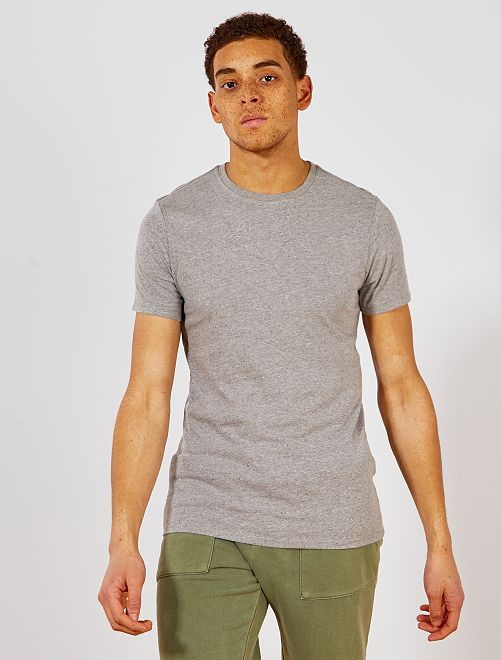 Camiseta slim moteada ecodiseño                                                                             GRIS Hombre