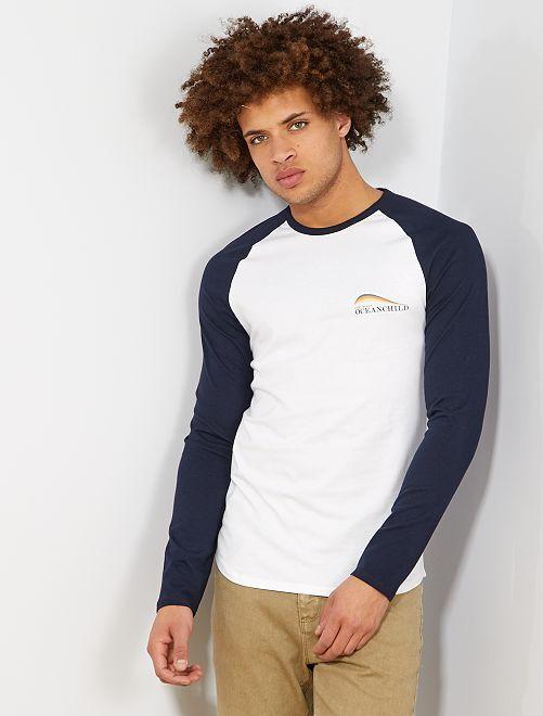 Camiseta slim raglán bicolor                                         BLANCO Hombre