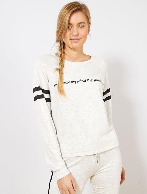 Camiseta suave estampada                                         GRIS