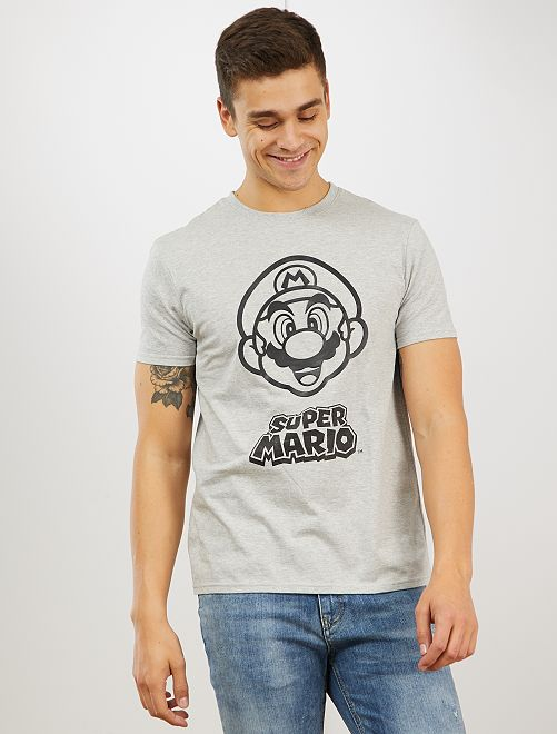 Camiseta 'Super Mario'                             gris chiné