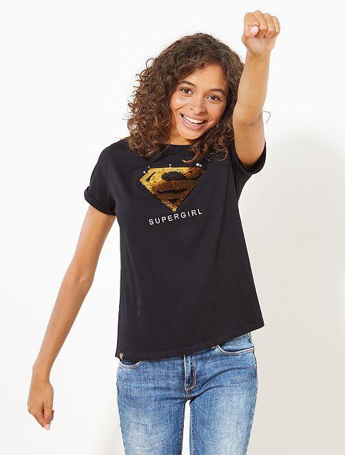 Con 'supergirl' Camiseta Camiseta 'supergirl' Camiseta Lentejuelas Lentejuelas 'supergirl' Con R5L34Aj