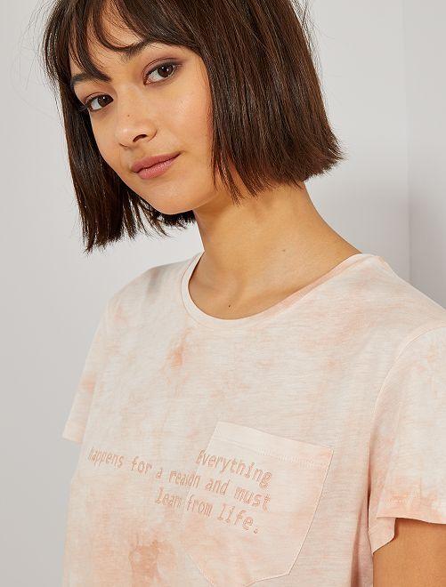 Camiseta tie-dye bordada                             ROJO Mujer talla 34 a 48