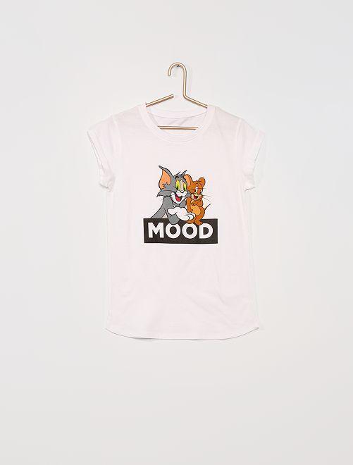 Camiseta 'Tom y Jerry'                             blanco