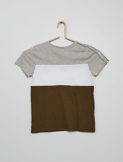 Camiseta tricolor con banda                                         KAKI