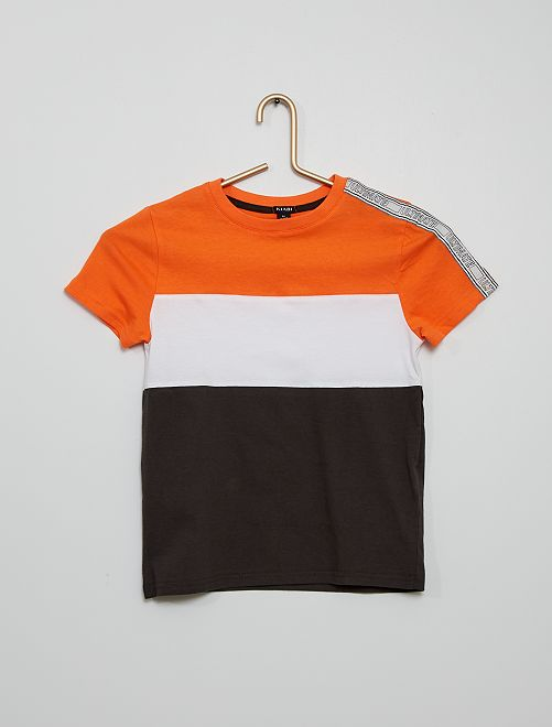 Camiseta tricolor con banda                                         NARANJA