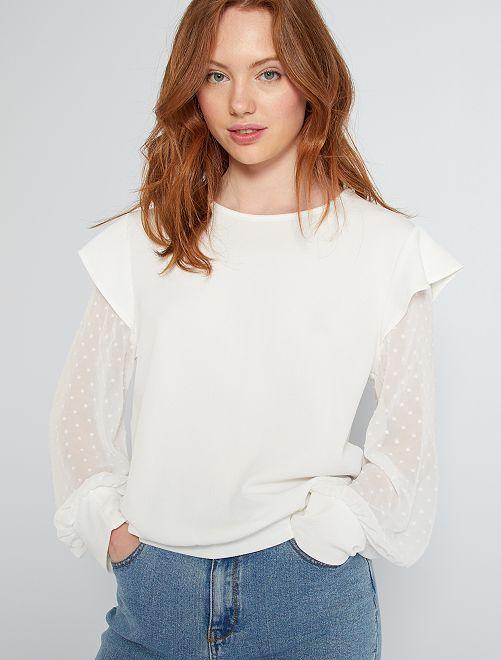 Camiseta vaporosa                                         blanco