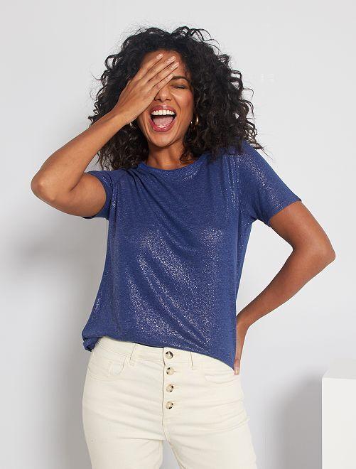 Camiseta vaporosa con brillos                             azul