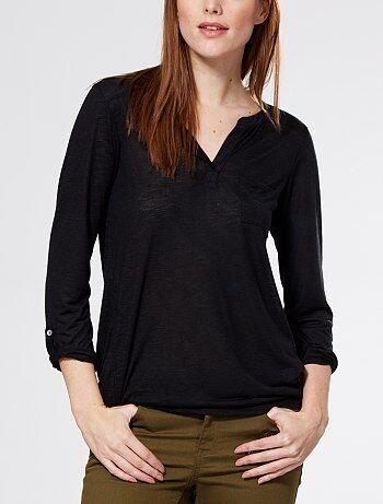 Camiseta vaporosa con cuello panadero                                                                     negro Mujer