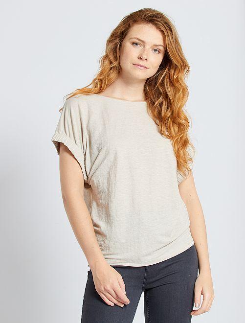 Camiseta vaporosa con mangas de fantasía                                                                 BEIGE