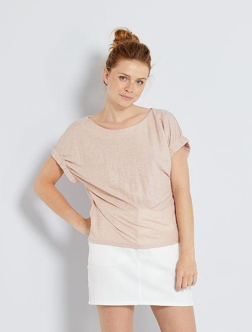 Camiseta vaporosa con mangas de fantasía                                                                 ROSA