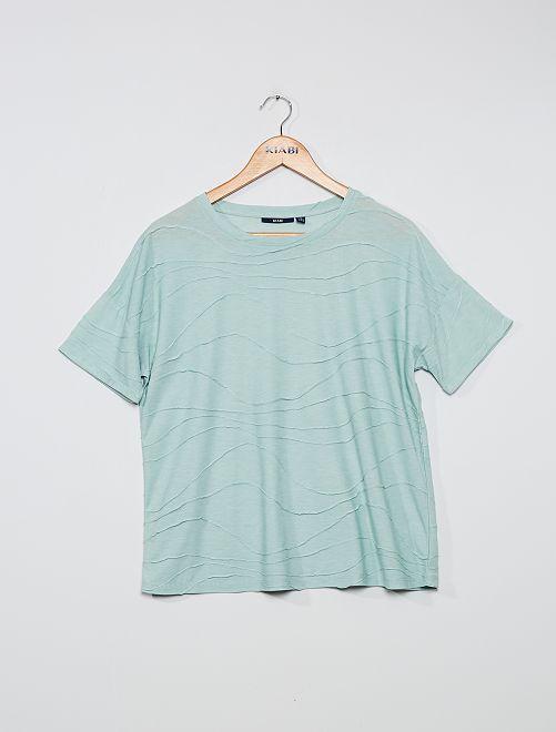 Camiseta vaporosa con relieve                                         azul
