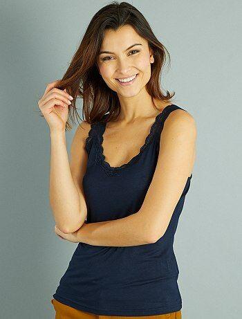 Mujer talla 34 to 48 - Camiseta vaporosa de encaje sin mangas - Kiabi