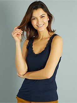 Mujer - Camiseta vaporosa de encaje sin mangas - Kiabi
