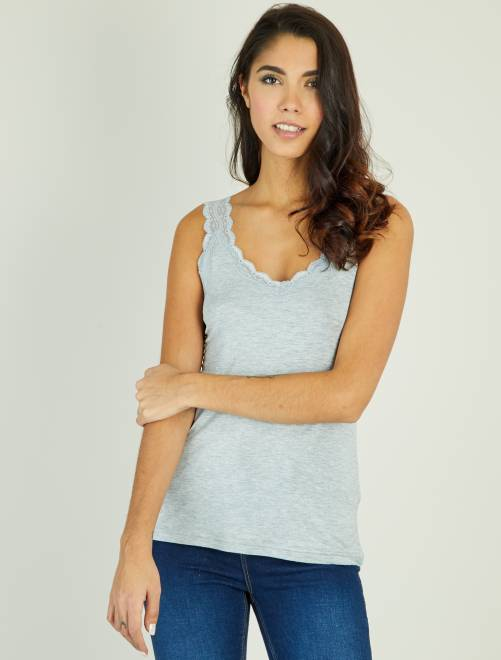 Camiseta vaporosa de encaje sin mangas                     gris claro Mujer talla 34 a 48