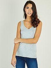 Camiseta vaporosa de encaje sin mangas