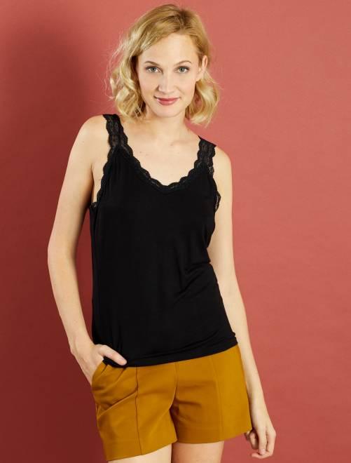 Camiseta vaporosa de encaje sin mangas negro Mujer talla 34 to 48