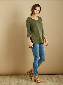 Mujer Camiseta vaporosa de punto fino