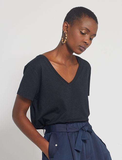 Camiseta vaporosa de viscosa de bambú                                                     negro