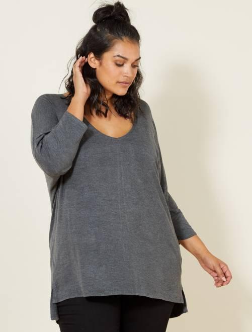 Camiseta vaporosa manga murciélago                                         GRIS Tallas grandes mujer