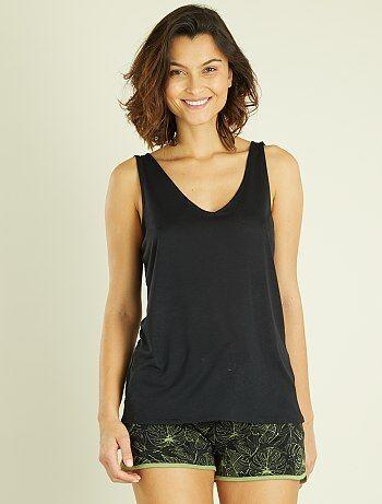 Camiseta vaporosa sin mangas con cremallera trasera - Kiabi