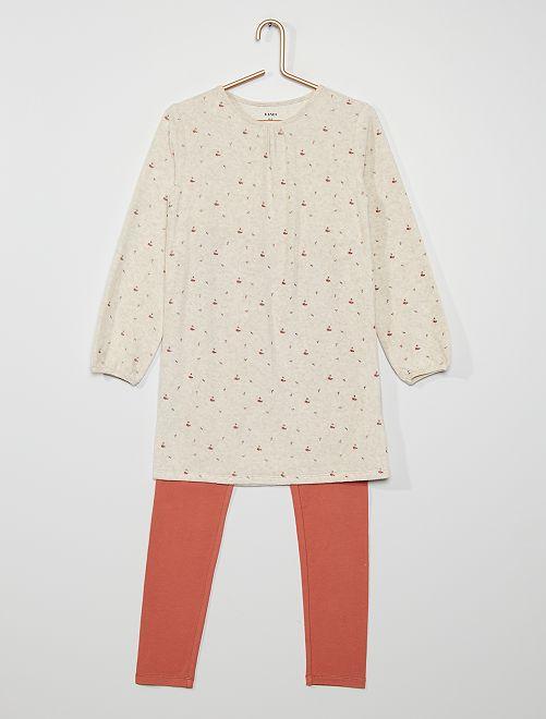 Camisón de terciopelo + legging                                         BEIGE
