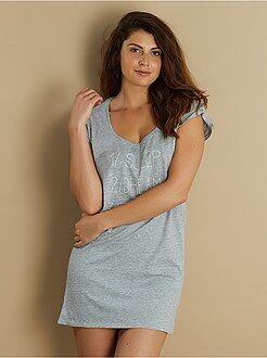 Pijamas, babydoll - Camisón estampado de algodón
