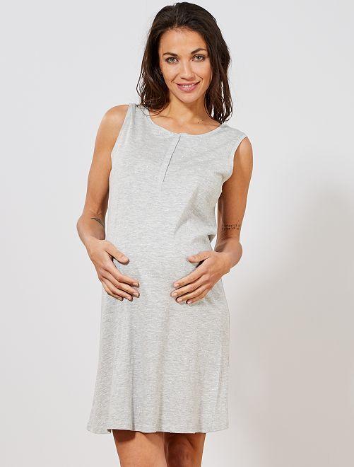 Camisón premamá de algodón eco                                         GRIS Mujer talla 34 a 48