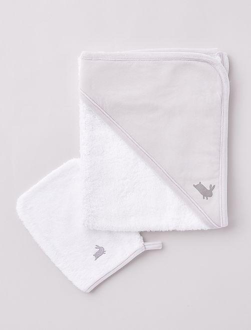 Capa de baño de rizo + manopla 'conejo'                             GRIS