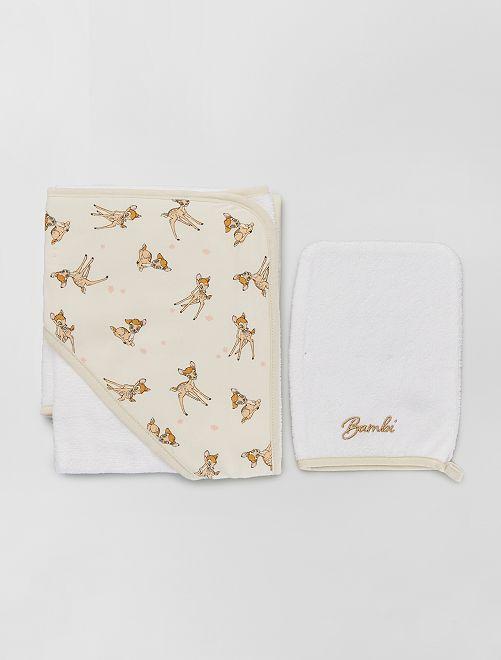 Capa de baño + manopla 'Bambi'                                                                 BLANCO