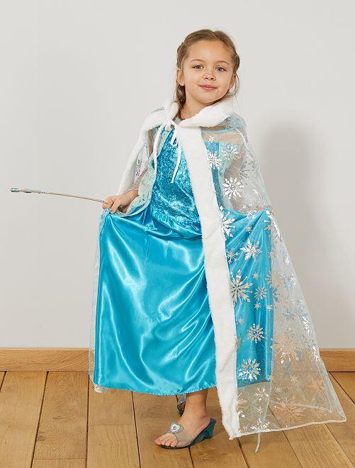 Capa de princesa de los hielos                             azul Niños