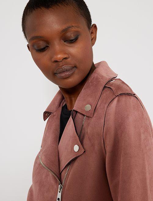 Cazadora de antelina                                                                 ROSA Mujer talla 34 a 48