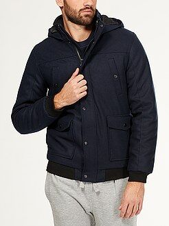 Abrigos y cazadoras - Cazadora de lana sintética con capucha