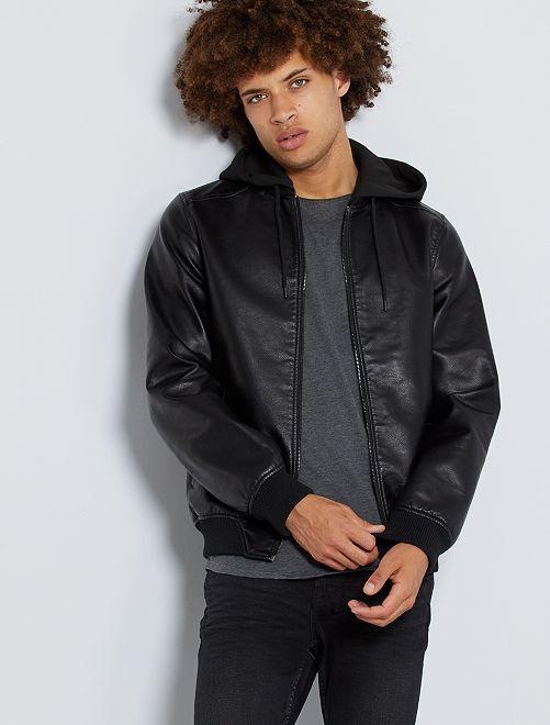 Cazadora de piel sintética con capucha                                         negro