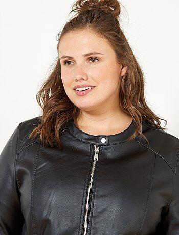ebe726a3c91 Tallas grandes mujer - Cazadora de piel sintética con cremallera - Kiabi
