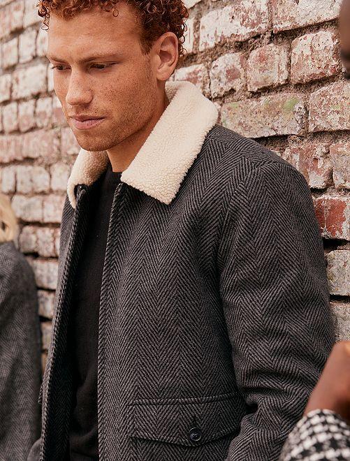Cazadora efecto lana con cuello de borreguito                                         GRIS