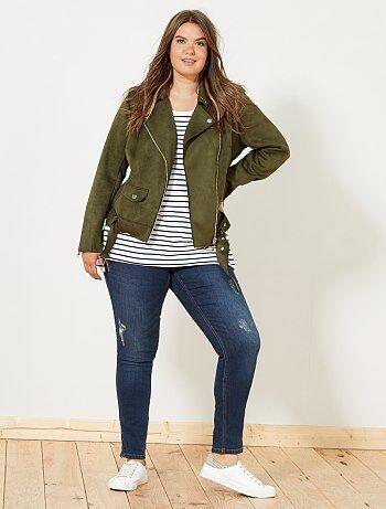 e983a92186d16 chaquetas de cuero en tallas grandes de mujer baratas - moda Tallas ...